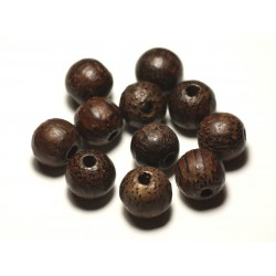 1pc - Perle Bois de Coco Marron Boule 14x16mm perçage 4mm - 8741140016866