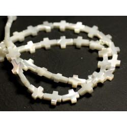 4pc - Perles Nacre blanche naturelle irisée Croix 9x7mm - 8741140015821