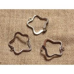 2pc - Bélières Métal Argenté Rhodium Etoiles 22mm - 4558550003270