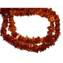 20pc - Perles Ambre naturelle Cognac - Rocailles Chips 6-10mm - 4558550087690