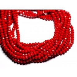 Fil 39cm 90pc env - Perles Verre opaque - Rondelles Facettées 6x4.5mm Rouge Cerise - 4558550084866