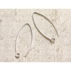 1 Paire - Crochets Argent 925 Boucles d'Oreilles 28mm 4558550003539