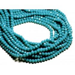 Fil 39cm 90pc env - Perles Verre opaque - Rondelles Facettées 6x4.5mm Bleu Paon Canard - 4558550084897