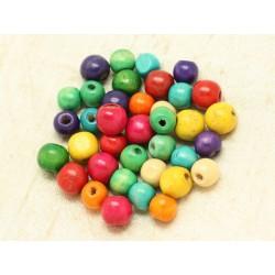 10pc - Perles Bois Boules 12mm Multicolore 4558550000194