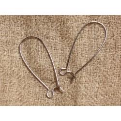 200pc - Crochets Boucles Oreilles Métal Argenté qualité 33mm 4558550000682