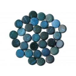 20pc - Perles Bois de Coco Palets 10-11mm Bleu Vert 4558550001191