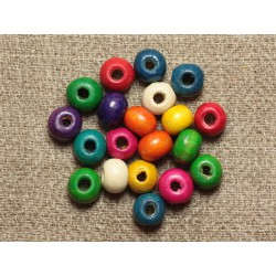 40pc - Perles Bois Rondelles 6x4mm Multicolores 4558550001214