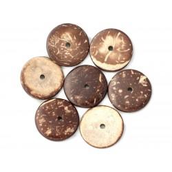 10pc - Perles Bois de Coco Rondelles 25mm Marron - 4558550001245