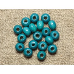 40pc - Perles Bois Rondelles 6x4mm Bleu Vert Turquoise 4558550001252