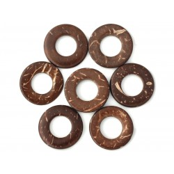20pc - Perles Bois de Coco Donuts Cercles 20mm Marron 4558550001269