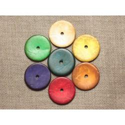 10pc - Perles Bois de Coco Rondelles 25mm Multicolore - 4558550001290