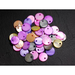 100pc - Breloques Pendentifs Nacre Ronds Palets 11mm Multicolores 4558550002389