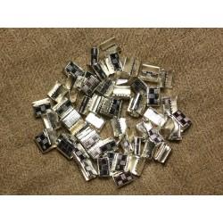 20pc - Embouts sans attaches métal Argenté sans nickel 7x5.5mm 4558550005441