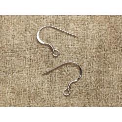 1paire - Crochets Boucles d'Oreilles Argent 925 Plaqué Or Blanc 17x16mm 4558550010735