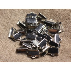 10pc - Embouts Griffe métal argenté qualité Rhodium 10x5mm 4558550107374