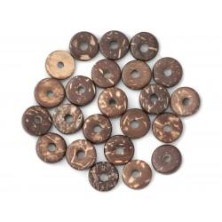 20pc - Perles Donuts Bois de Coco Rondelles 12mm Marron 4558550011237
