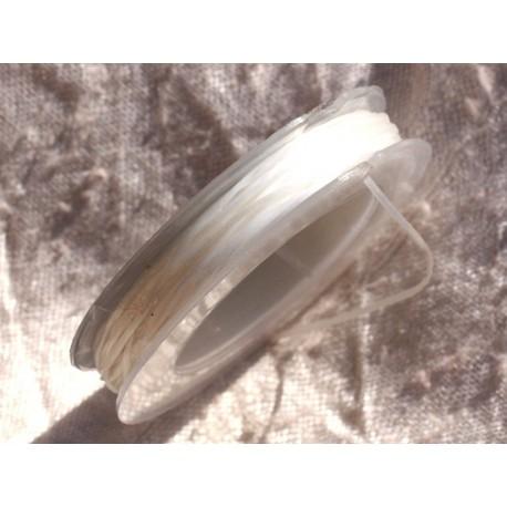 Bobine 10 mètres - Fil Elastique Fibre 0.8-1mm Blanc Transparent - 4558550015013