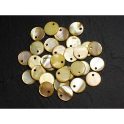 10pc - Perles Breloques Pendentifs Nacre Ronds Palets 11mm Jaune 4558550015228