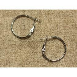2 Paires - Boucles Oreilles Métal Argenté Rhodium Créoles 20mm 4558550017321
