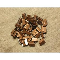 10pc - Embouts Cuir et Tissus métal Cuivre 10x6mm 4558550019479