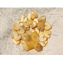 10pc - Mother of Pearl Pendants Charms Hearts 11mm Yellow 4558550019653