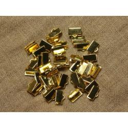 20pc - Embouts Cuir et Tissus métal doré sans nickel 10x6mm 4558550025777