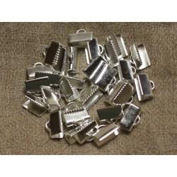 20pc - Embouts métal argenté qualité sans nickel 10x5mm 4558550029737