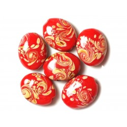 2pc - Perles en Verre Rouge et Jaune Ovales 25x20mm 4558550030788