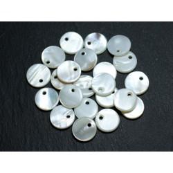 10pc - Pendenti in madreperla bianca con ciondoli rotondi 10mm 4558550037138