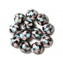 4pc - Perles en Verre Palets 16mm Noir Gris Bleu Turquoise 4558550038029