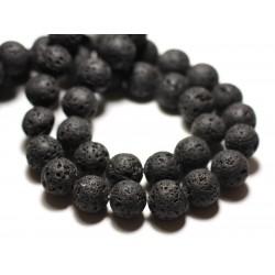 Filo 39 cm circa 48 pz - Perline di pietra - Sfere di lava nera da 8 mm