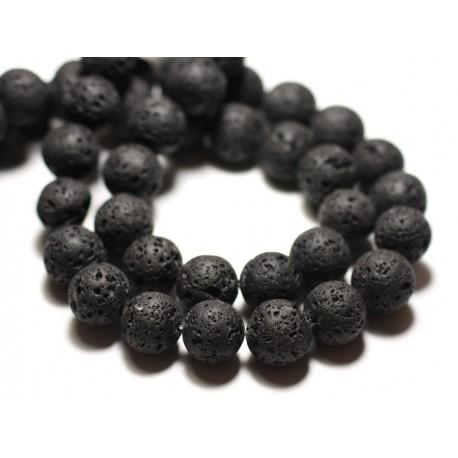 Fil 39cm 48pc env - Perles de Pierre - Lave noire Boules 8mm
