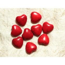 Fil 39cm 25pc env - Perles de Pierre Turquoise Synthèse Reconstituée Coeurs 15mm Rouge