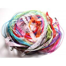 50pc Colliers Tours de cou Tissu Organza et Coton 47cm Multicolore
