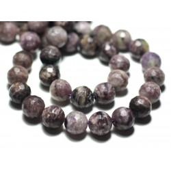 4pc - Perles de Pierre - Charoïte Boules Facettées 10mm Violet Mauve Noir - 8741140022195