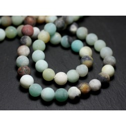 10pc - Stone Beads - Multicolored Amazonite 8mm Balls Matte Sanded Frosted - 8741140022133