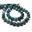 2pc - Cuentas de piedra - Bolas de apatita 8 mm azul verde pato pavo real - 8741140022164