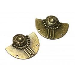 2pc - Connectors Beads Pendants Earrings Metal Bronze Half Moon Aztec Ethnic 37mm - 8741140021112