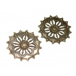 10pc - Findings Connectors Pendants Metal Bronze Stamps Flowers Lace Cathedral 44mm - 8741140021228
