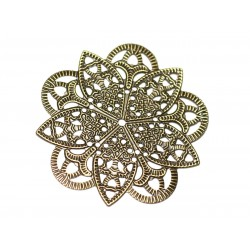 10pc - Findings Connectors Pendants Metal Bronze Stamps Flowers Lace Filigree 47mm - 8741140021235
