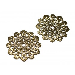 10pc - Findings Connectors Pendants Metal Bronze Stamps Flowers Lace Ethnic Filigree 48mm - 8741140021242