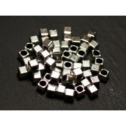 40pc - Cubos bañados en plata 4 mm cuentas gran agujero 2.5 mm - 8741140021174
