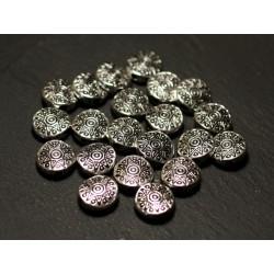 10pc - Paletas de cuentas de metal plateado Círculos étnicos de estrella de flor de 10 mm - 8741140021211