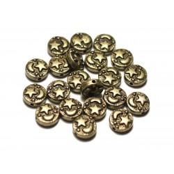 10pc - Paletas de cuentas de bronce metálico de 9 mm Moon Star - 8741140021181