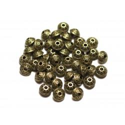 40pc - Cuentas de metal bronce Rondelles Bicones 7x5mm Círculos redondos étnicos - 8741140021198
