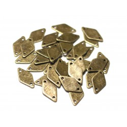 10pc - Connectors Beads Pendants Earrings Metal Bronze Diamonds 15mm - 8741140021129
