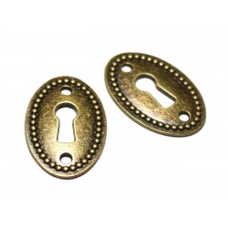 2pc - Connectors Beads Pendants Earrings Metal Bronze Key Lock 37mm - 8741140021136