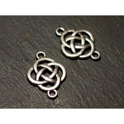 10pc - Connectors Beads Pendants Earrings Silver Metal Celtic Knots 25mm - 8741140021143