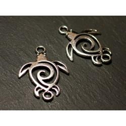 6pc - Connectors Beads Pendants Earrings Silver Metal Ethnic Turtle Filigree Arabesques 36mm - 8741140021167