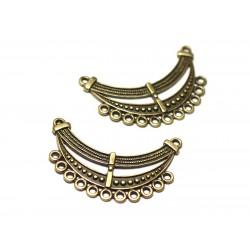 1pc - Connector Pearl Pendant Necklace Metal Bronze Plastron 46mm Ethnic Fantasy - 8741140021105